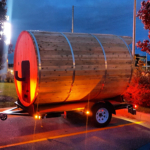 4 to 6 person mobile sauna with changing room